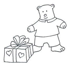 Valentine bear with present