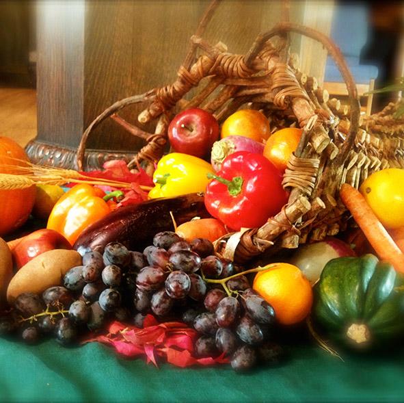 cornucopia with harvest fruits