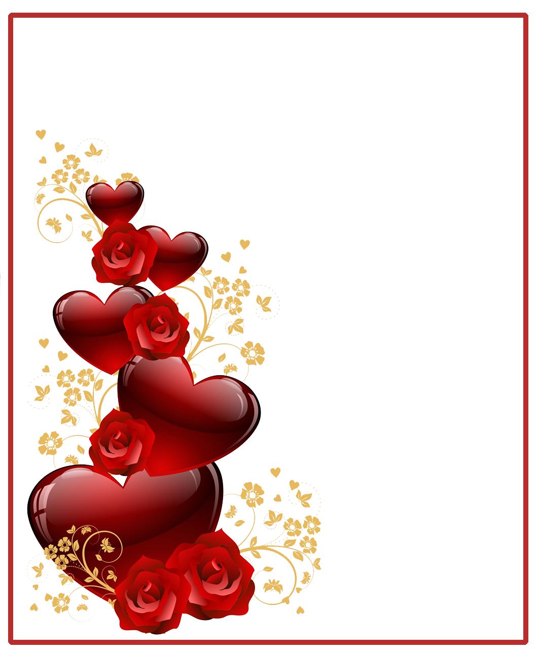 White background Valentine frame hearts