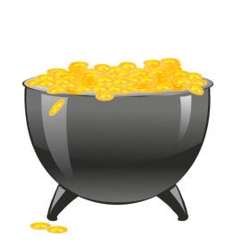 cauldron with gold coins with shamrock