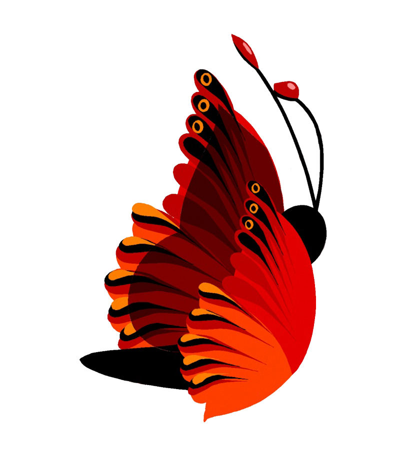 drawing red flying butterfly clipart