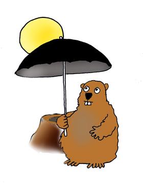 Groundhog with umbrella