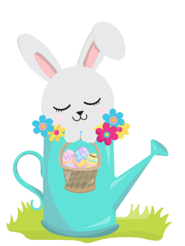 Easter bunny in watering can