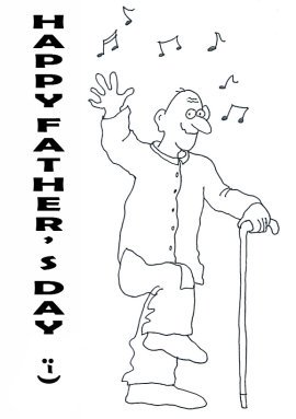 happy father's day greeting dancing old man