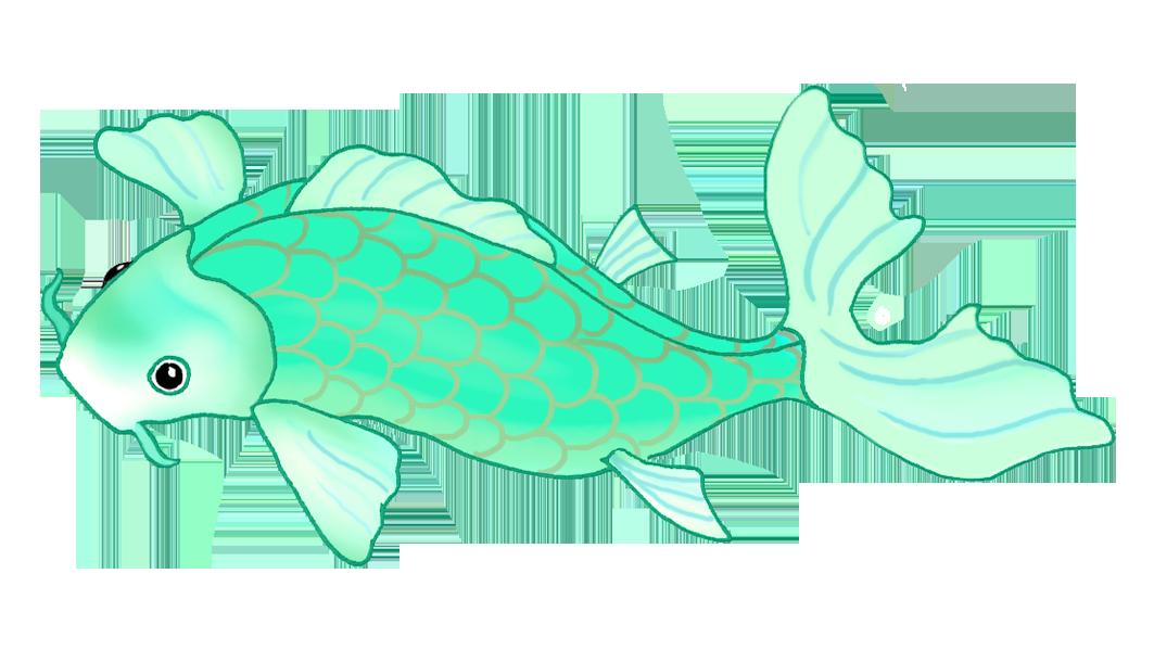 blue green koi fish drawing