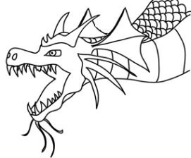head of flying blue dragon clip art