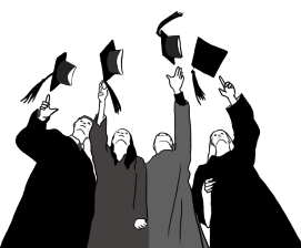 graduations caps in the air black white