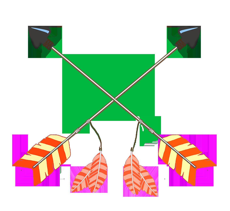 orange feathers crossed tribal arrows