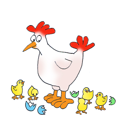 Easter chicks and hen