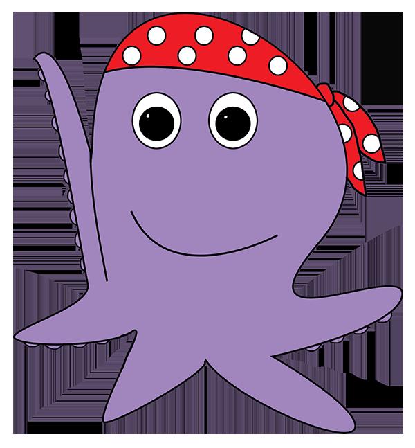 cartoon octopus pirate