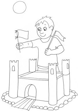 summer coloring sheet boy sandcastle