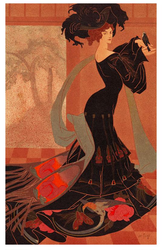 art nouveau picture woman with bird
