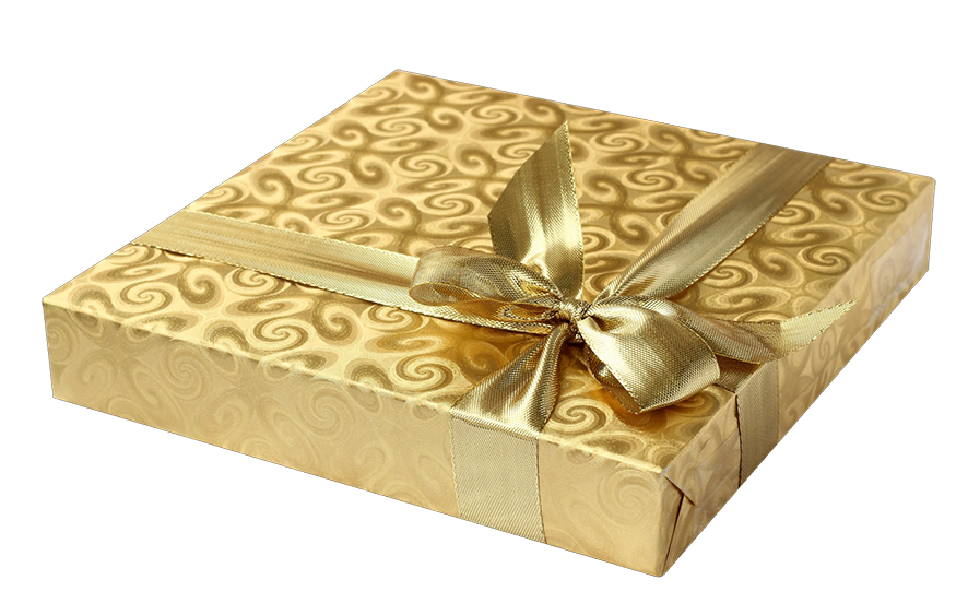 gold gift box clipart