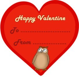 Red Valentine heart with cute owl