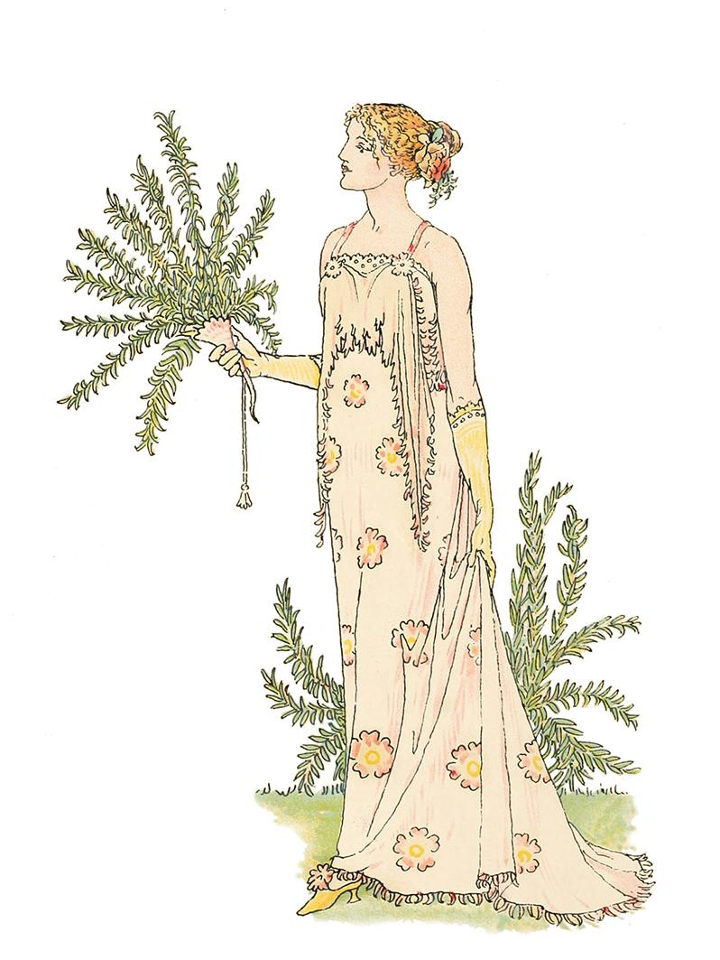 Art Nouveau image woman with leaves