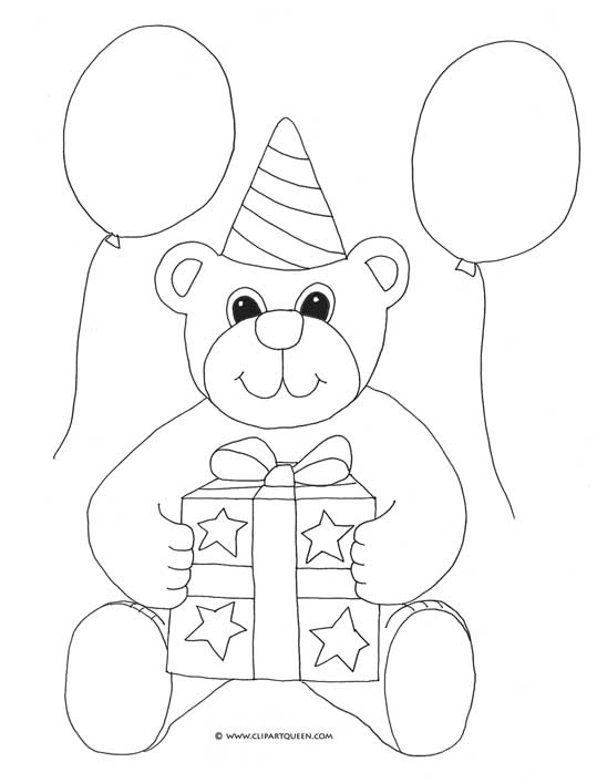 coloring pages to print birthday teddy bear balloons