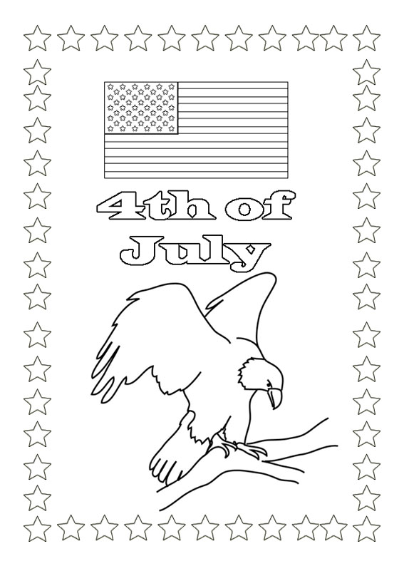 4th of July coloring pages with eagle and flag