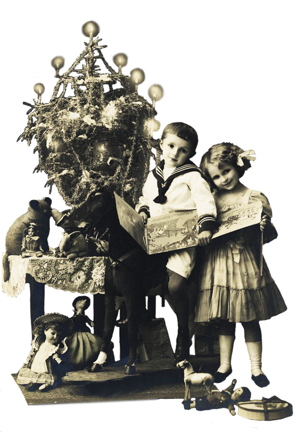 Vintage photo of children at Christmas