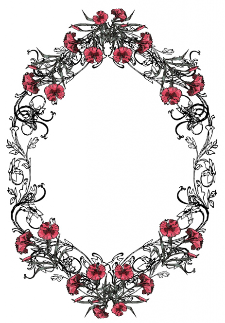 Victorian swirl frame with flowers