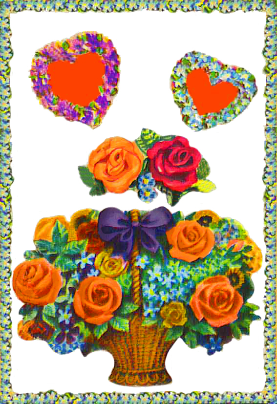Valentine card with love hearts and flowers