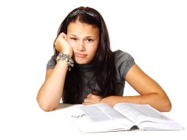 student tired of reading