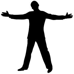 silhouette clipart male open gesture