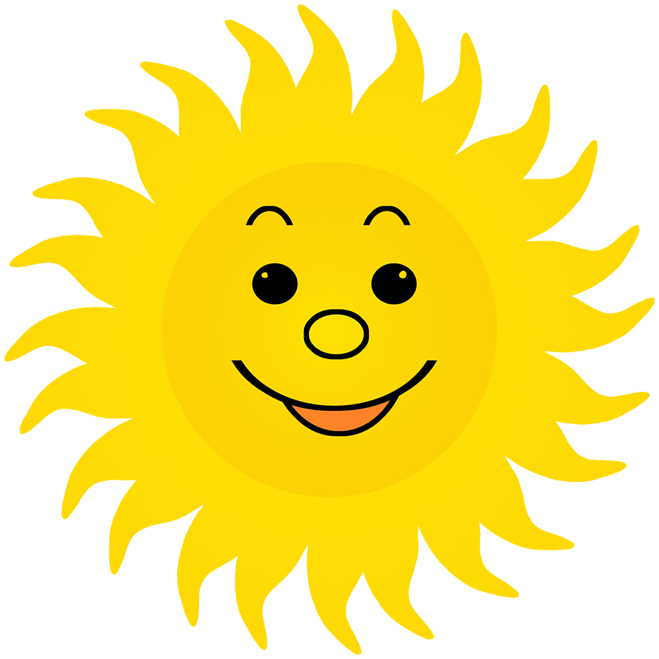 sun clipart lots of rays smiling