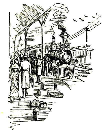 scene from Victorian train station
