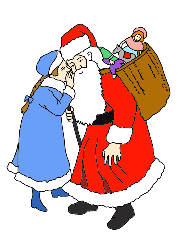 girl whispering her wishes to santa clip art