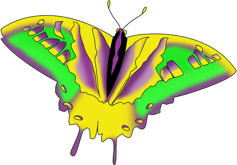colored swallowtail in fantasy colors