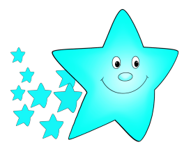 light blue star flying with smaller stars