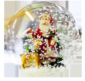 Christmas ball with snow and Santa