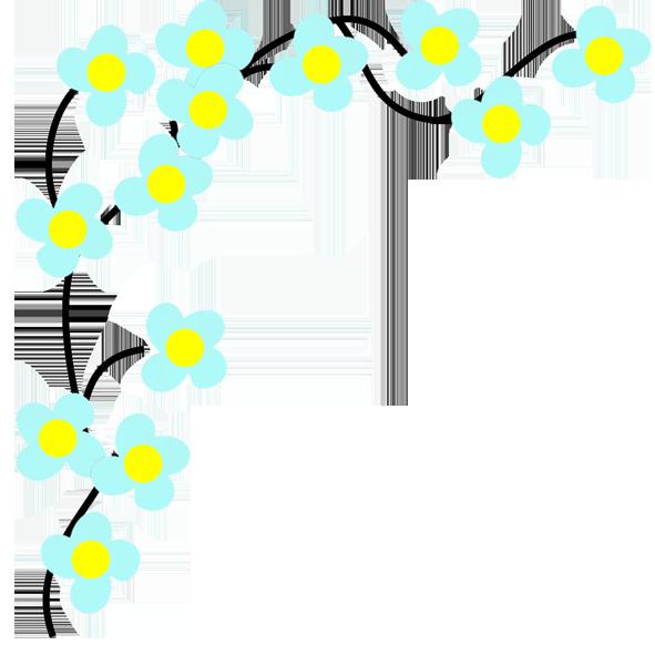 blue flower corner drawing