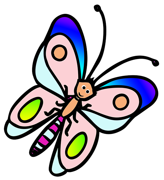 butterfly cartoon with soft colors