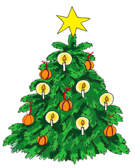 Oldfashioned Christmas tree with candles and oranges