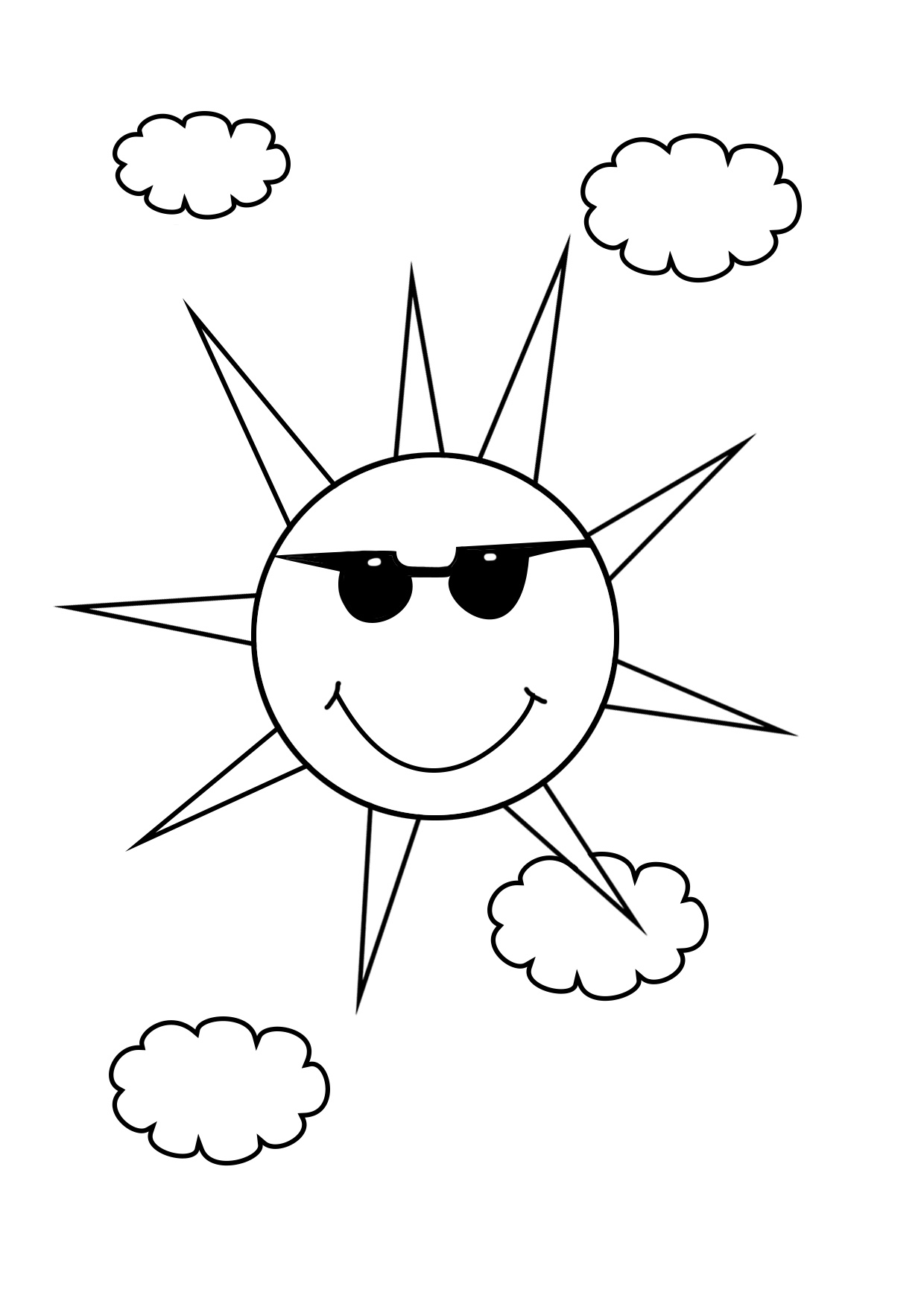 sun coloring pages with sunglasses and clouds