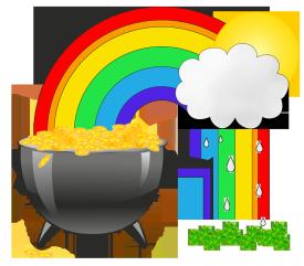 st. Patrick's day clipart cauldron rainbow