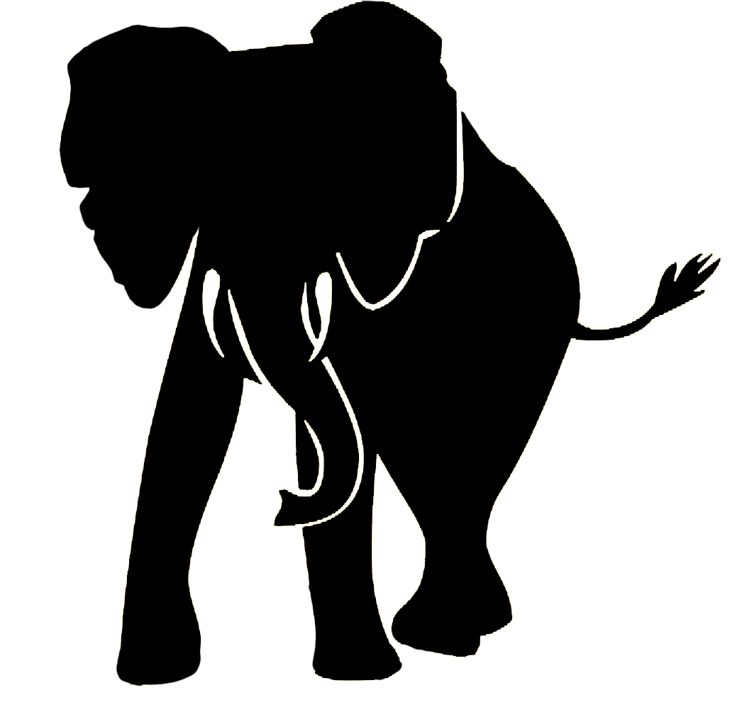 frontal silhouette of elephant