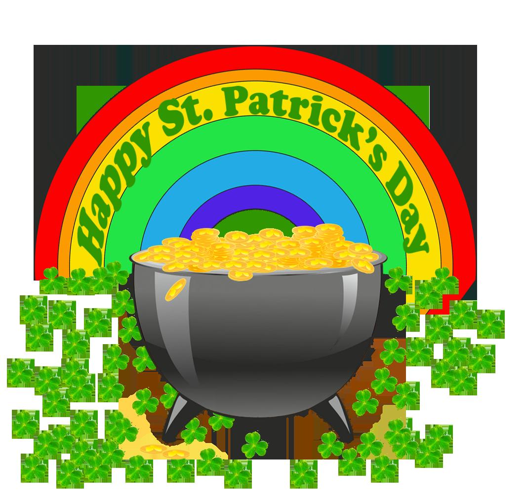 Happy St. Patrick's day rainbow couldron