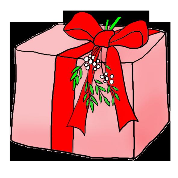 pink Christmas present clip art misteltoe