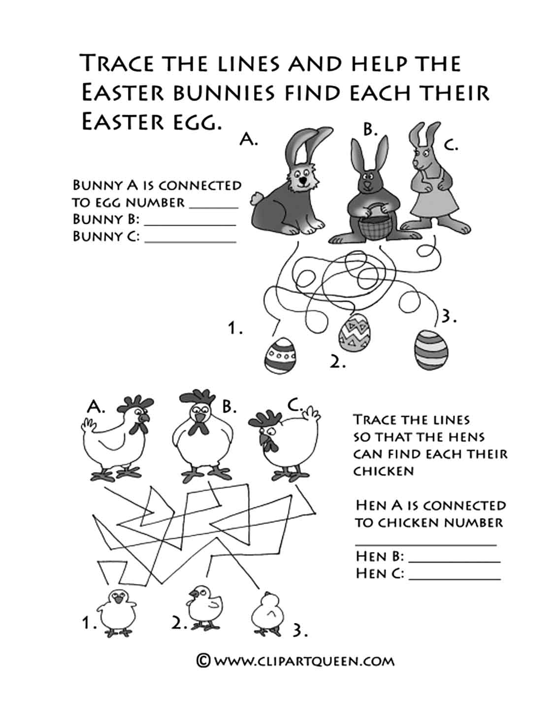 Easter printables activities helping bunnies