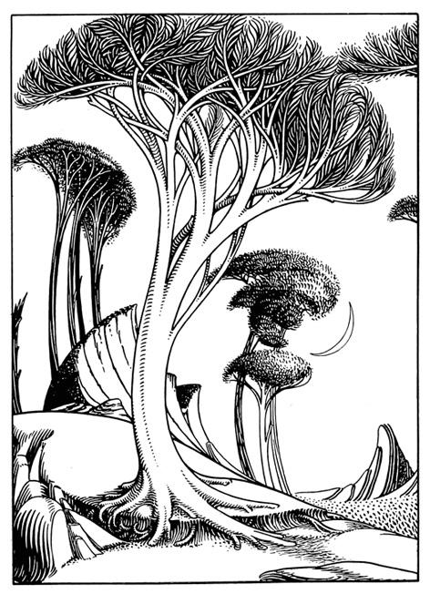 Art Nouveau landscape with curved tree