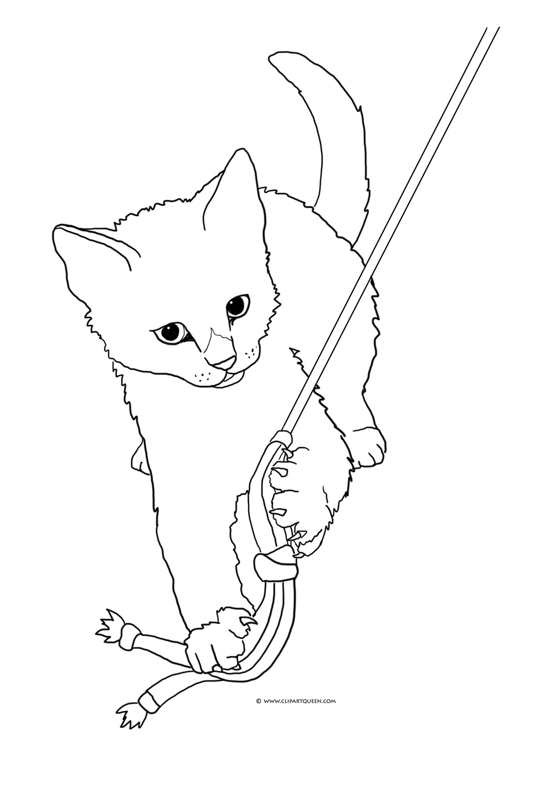 kitten playing coloring page