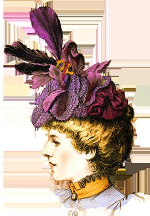 woman hat Victorian clipart
