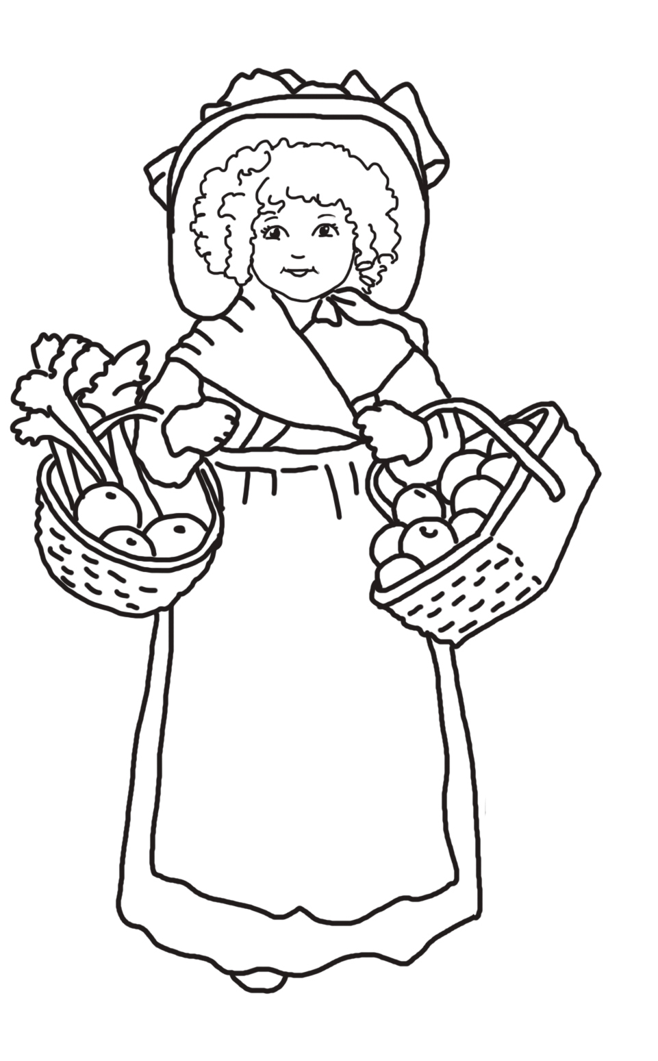 girl with Thanksgiving baskets fruit vegetables