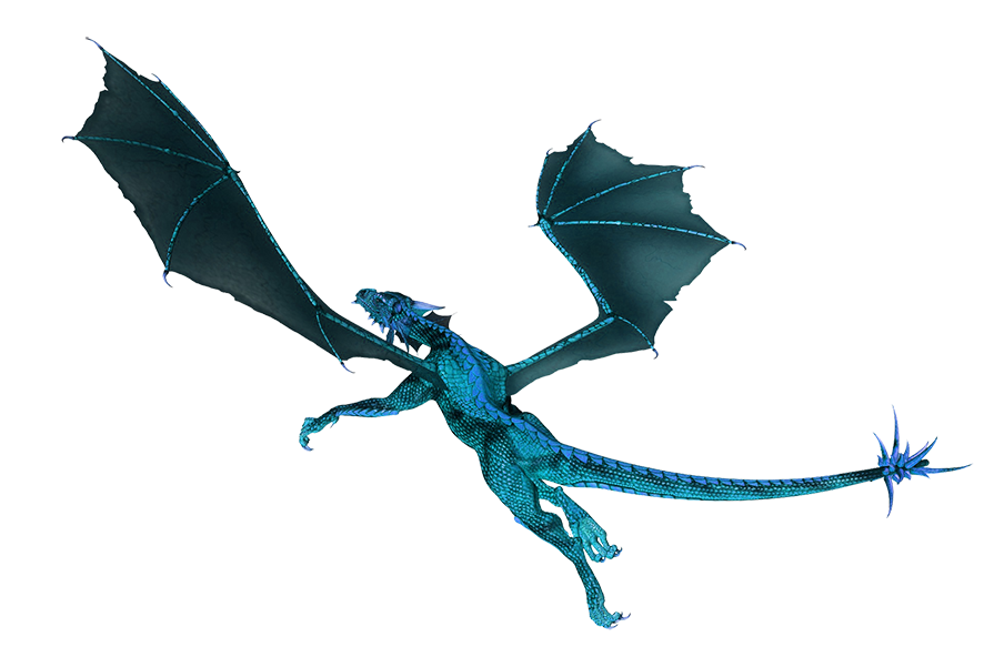 blue flying dragon clipart