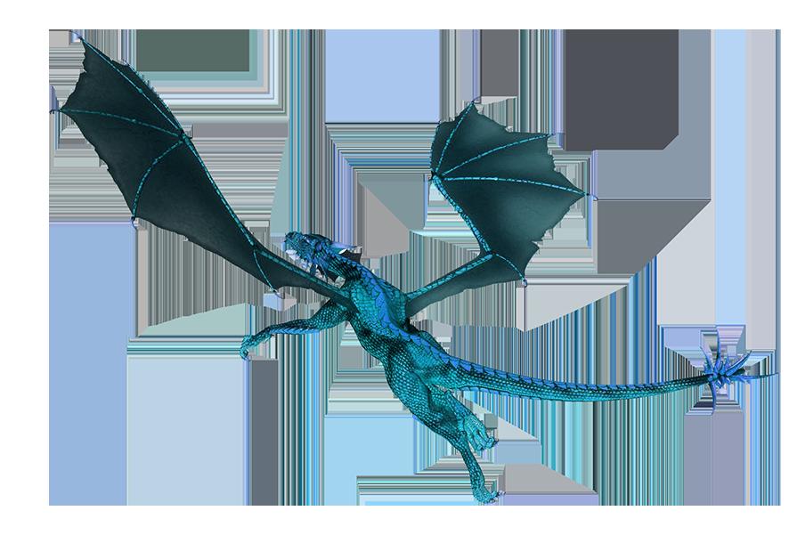 blue flying dragon clipart