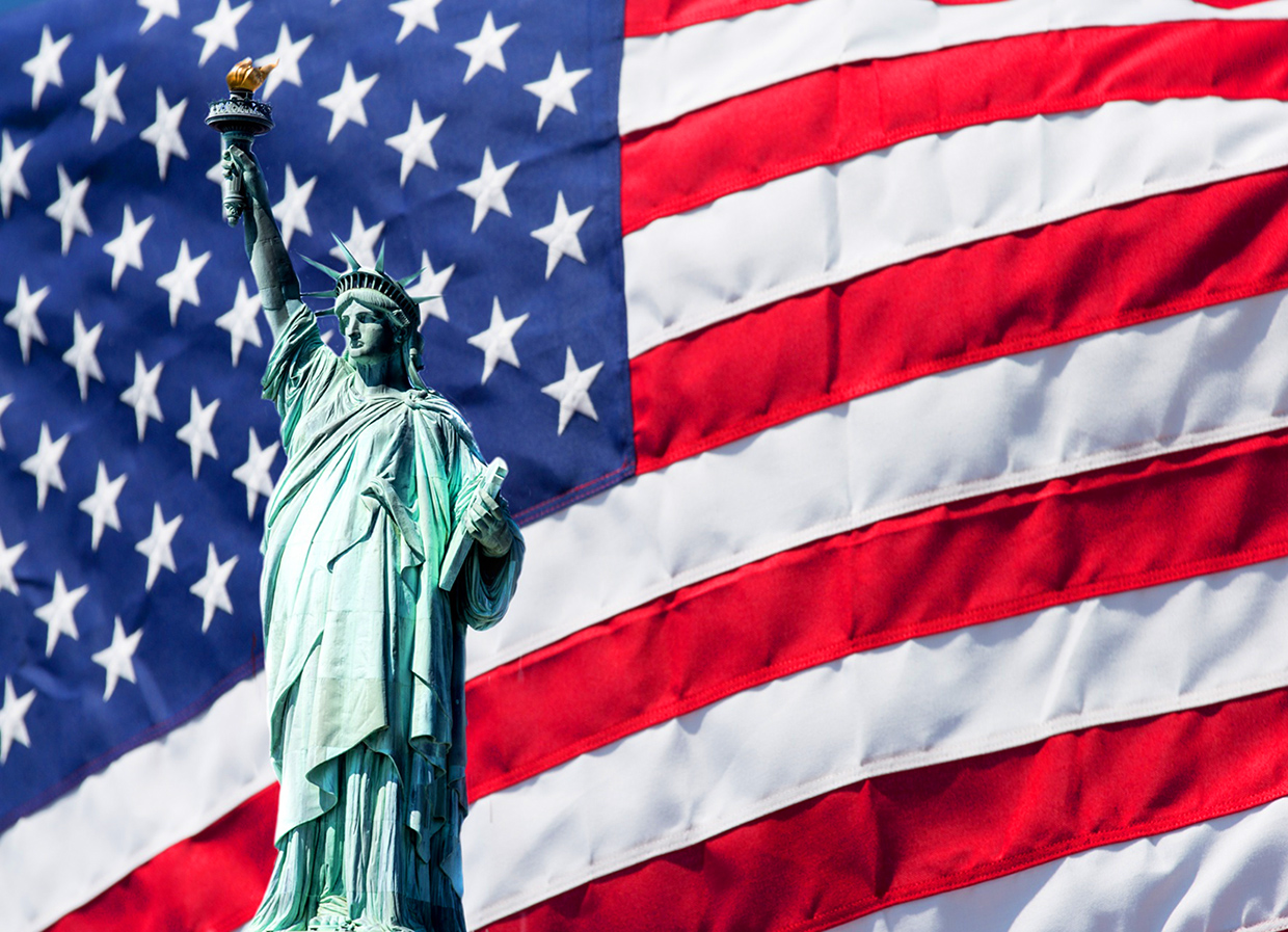 Statue of Liberty and USA flag