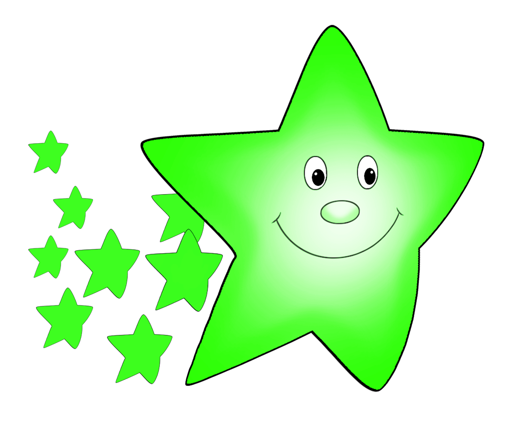 green flying cute star
