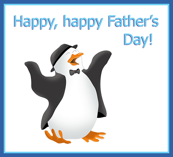 dancing penguin greeting for Father's Day